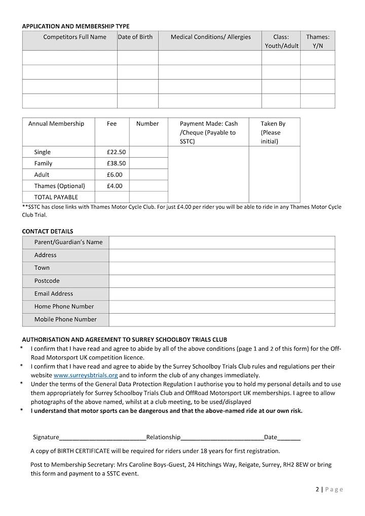 Surrey Schoolboys Trials Club Membership 2021 image