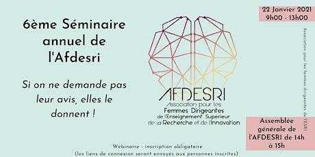 6ème séminaire AFDESRI - Si on ne demande pas leur avis, elles le donnent ! billets