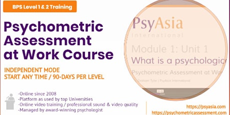 BPS Online Psychometric Assessment at Work Course tickets