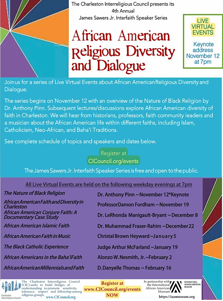 African American Religious Diversity and Dialogue- 8 Live Virtual Events image