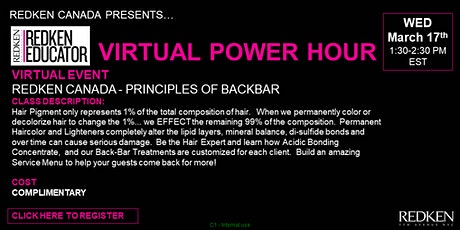 REDKEN CANADA - PRINCIPLES OF BACKBAR tickets