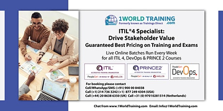 ITIL 4 Specialist Drive Stakeholder Value   -  Axelos -  PeopleCert - SALE tickets