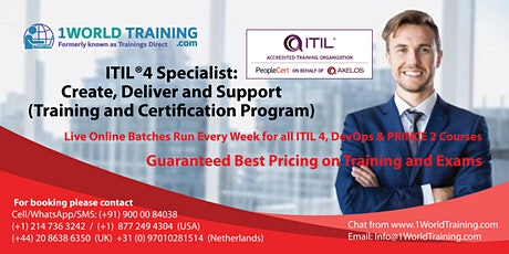 ITIL 4 Specialist Create Deliver and Support  -  Axelos -  PeopleCert tickets