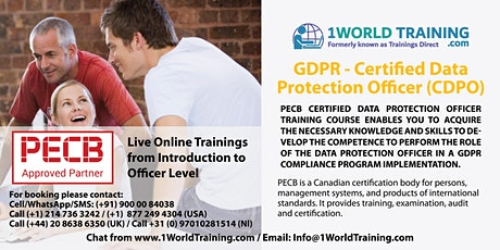 GDPR — Certified Data Protection Officer - By  PECB - Self Study / Live ingressos
