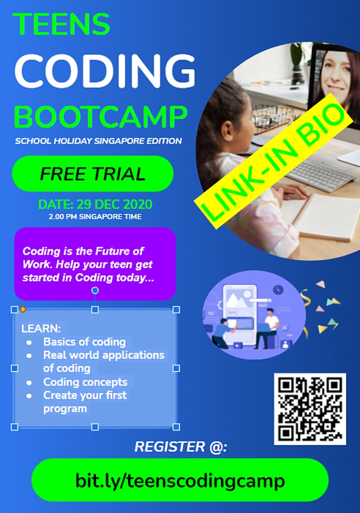 FREE TRIAL - TEENS CODING CAMP  (SINGAPORE SCHOOL HOLIDAY EDITION) image