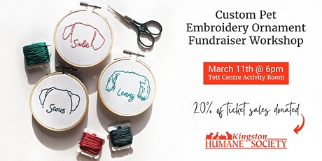 Custom Pet Embroidery Ornament Fundraiser Workshop tickets