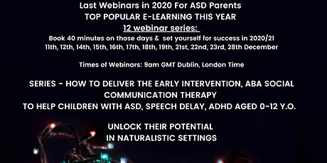 Top Popular in 2020 ASD Parent Webinars: How to Deliver ABA Therapy at Home tickets