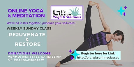 Krystle's Livestream, Rejuvenate & Restore Yoga (Weekly on Sundays) tickets
