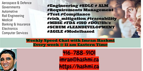 Weekly Speed Chats on various topics around #agile #sdlc #alm #requirements tickets