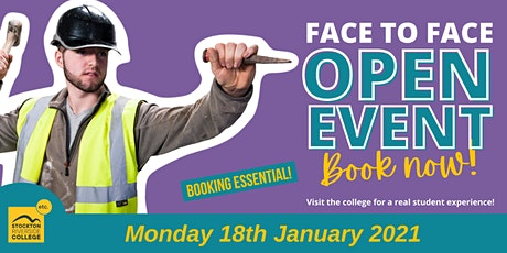 Stockton Riverside College Face-to-Face Open Event - Mon 18th  January 2021 tickets