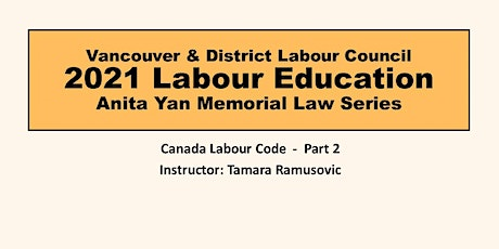 Canada Labour Code - Part 2 tickets