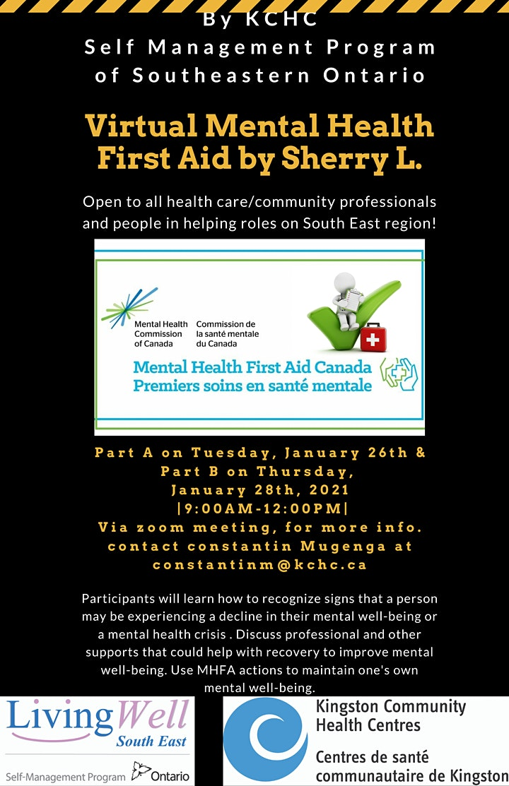 Virtual Mental Health First Aid Training,Jan. 26&28 from 9-12pm by KCHC-SMP image