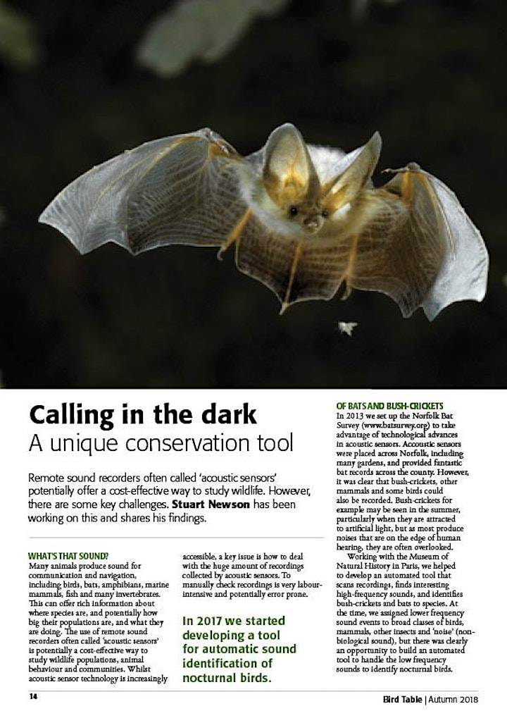 Calling in the dark: developing tools for acoustic monitoring of wildlife image