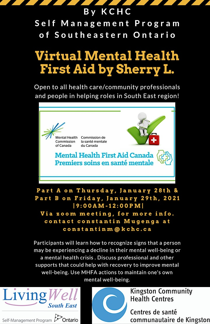 Virtual Mental Health First Aid Training,Jan. 28&29 from 9-12pm by KCHC-SMP image