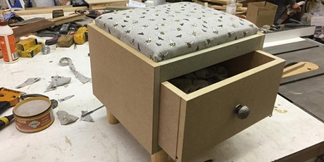 Make an upholstered footstool with drawer tickets