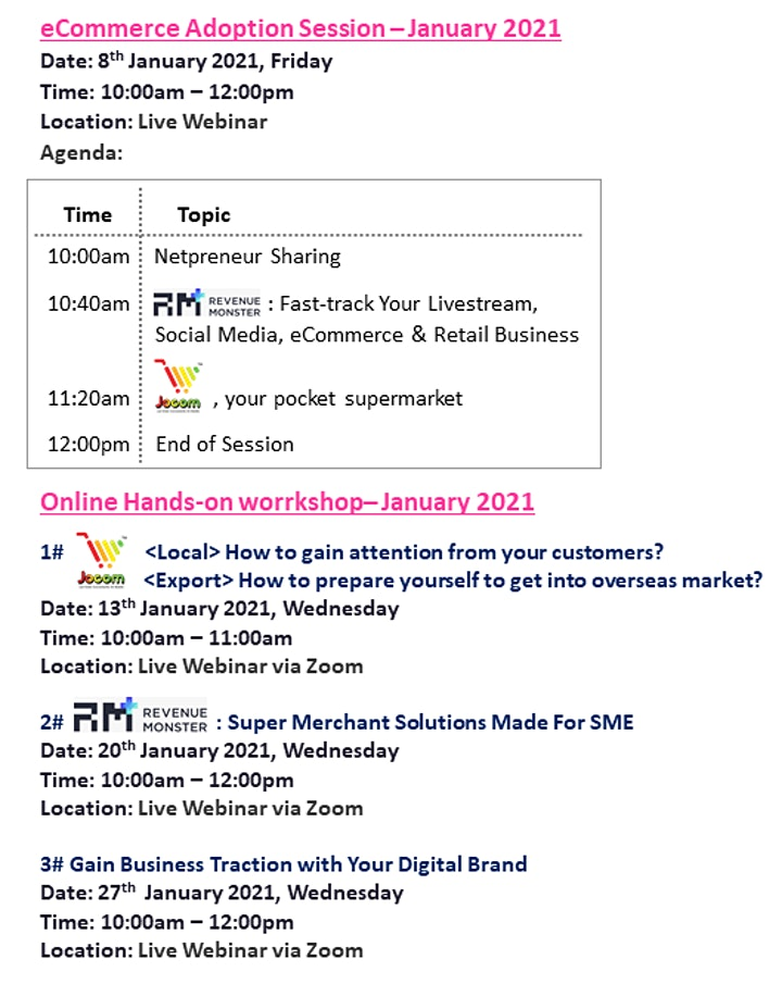 [Webinar Series] eCommerce Adoption Sessions & Workshop - Jan 2021 image