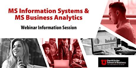 MSIS & MSBA Information Session Webinar   October 6th, 2021 tickets