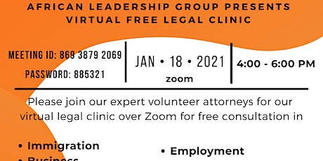 ALG Monthly Legal Clinic tickets