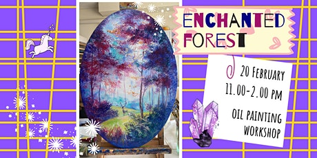 ENCHANTED FOREST - oil painting social workshop on oval canvas tickets