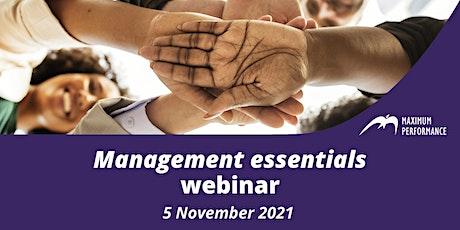 Management essentials (5 November 2021) tickets