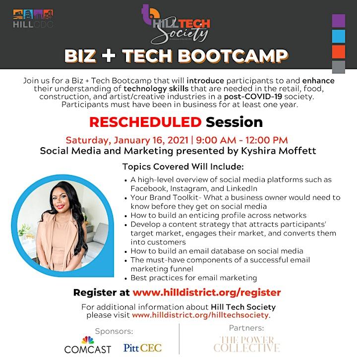 Biz + Tech Boot Camp: Social Media and Marketing with Kyshira Moffett image