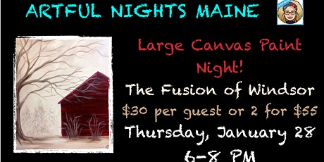 Large Canvas Winter Red Barn at The Fusion of Windsor tickets