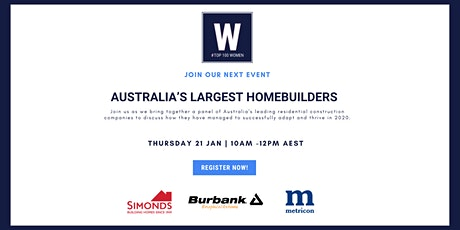 Expert Webinar | Australia's Largest Homebuilders tickets