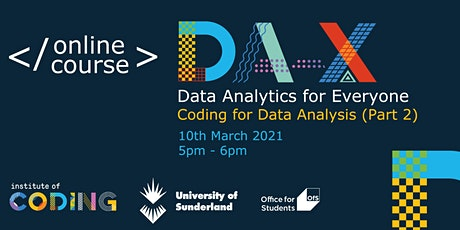 Data Analytics for Everyone: Coding for Data Analysis (Part 2) tickets