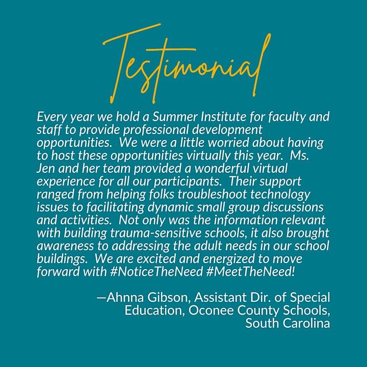 Ms. Jen Alexander's Online Trauma-Sensitive Schools Summer 2021 Institute image