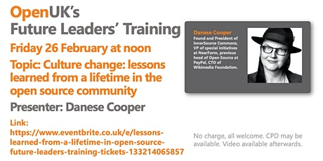 Lessons Learned from a Lifetime in Open Source - Future Leaders Training tickets