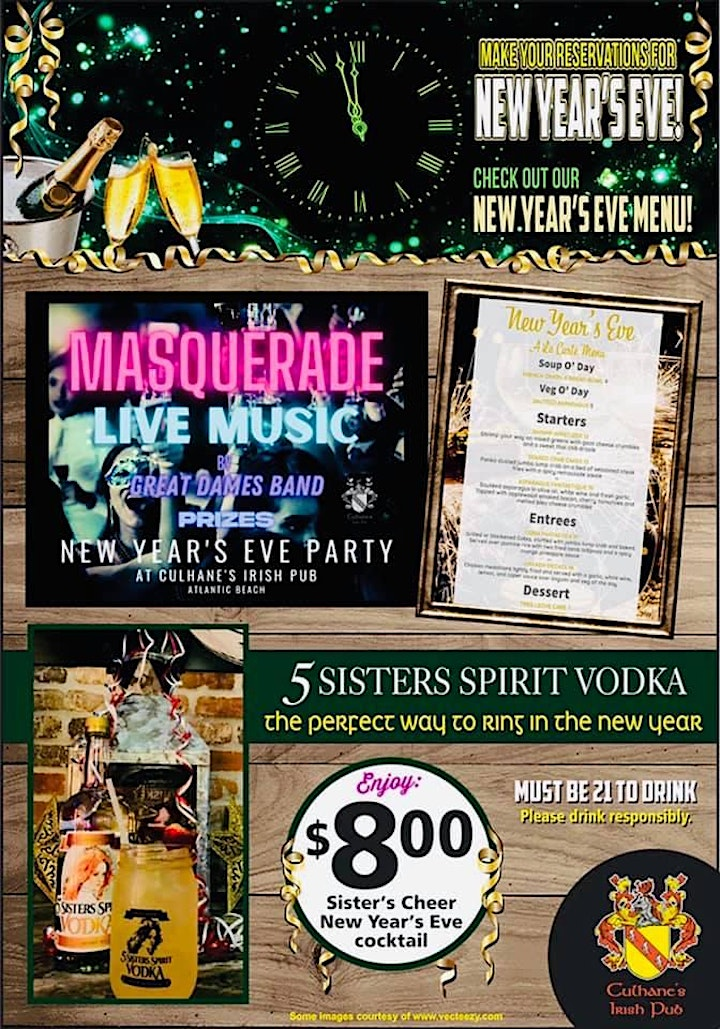 New Year's Eve Masquerade Party with Great Dames Band Atlantic Beach image