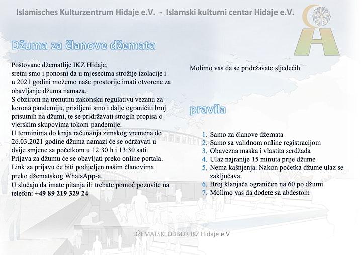 Džuma za članove u IKZ Hidaje 01.01 - 26.03.2021: Bild