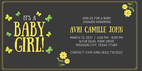 Avri Camille John's Baby Shower (Marcus & Litifah) tickets