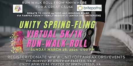 """Unity Virtual """"Spring Fling"""" 5K/1K Run/Walk/Roll tickets"""