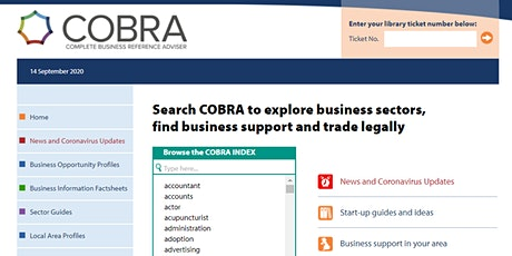 Using COBRA for your Business Research (online) (Bexley) tickets