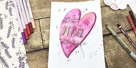 Aquarellfarben Lettering  - Muttertags Karten und Maleffekte mit Schrift tickets