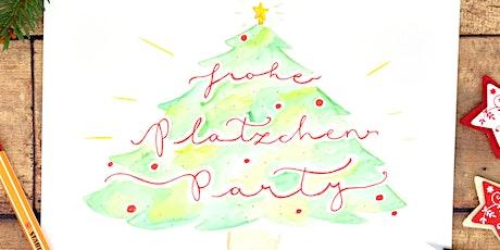 Aquarellfarben Lettering  - Weihnachts Karten und Maleffekte mit Schrift Tickets