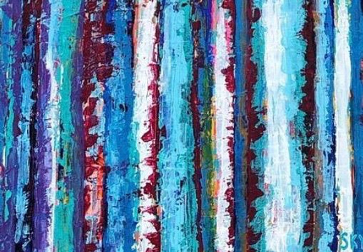 Abstract Trees Palette Knife Painting Art Class image