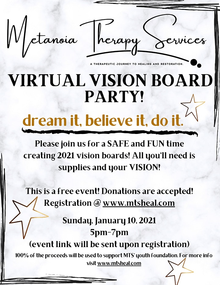 Metanoia Therapy Services Virtual Vision Board Party image