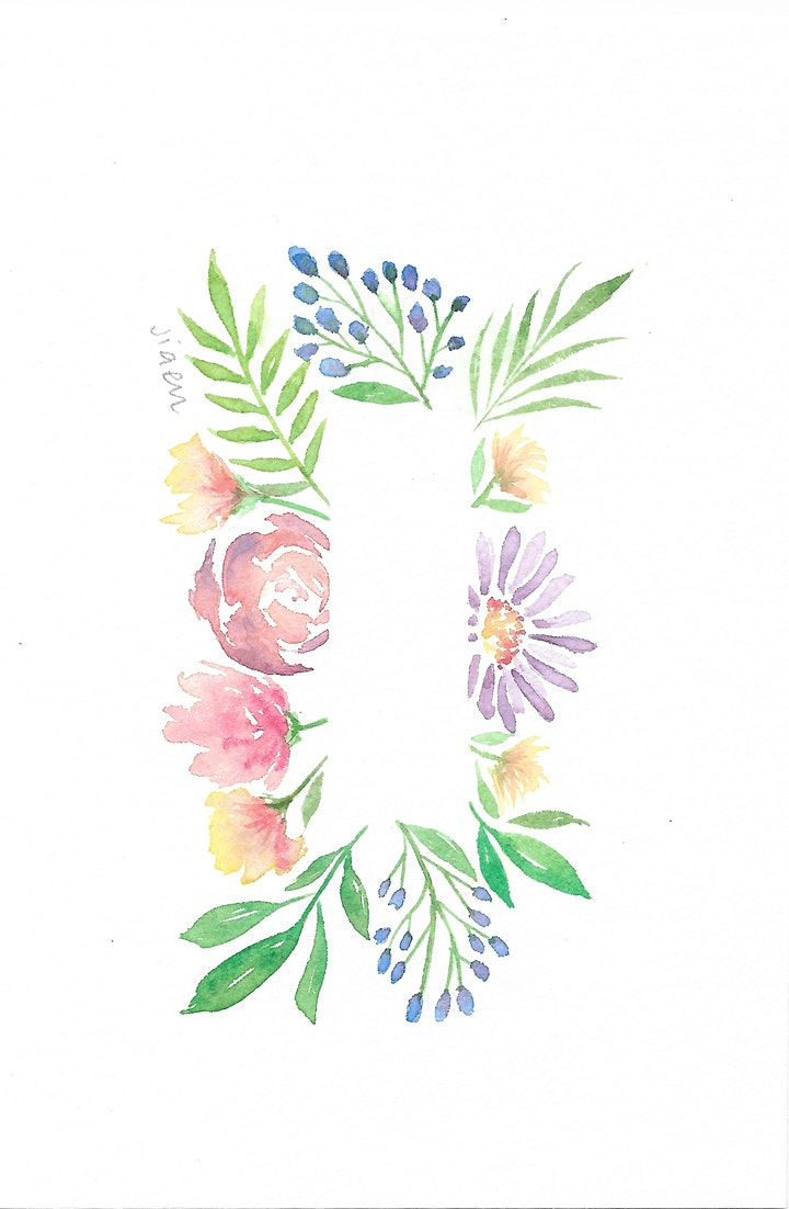 Watercolour Flora Wreath for Beginners image