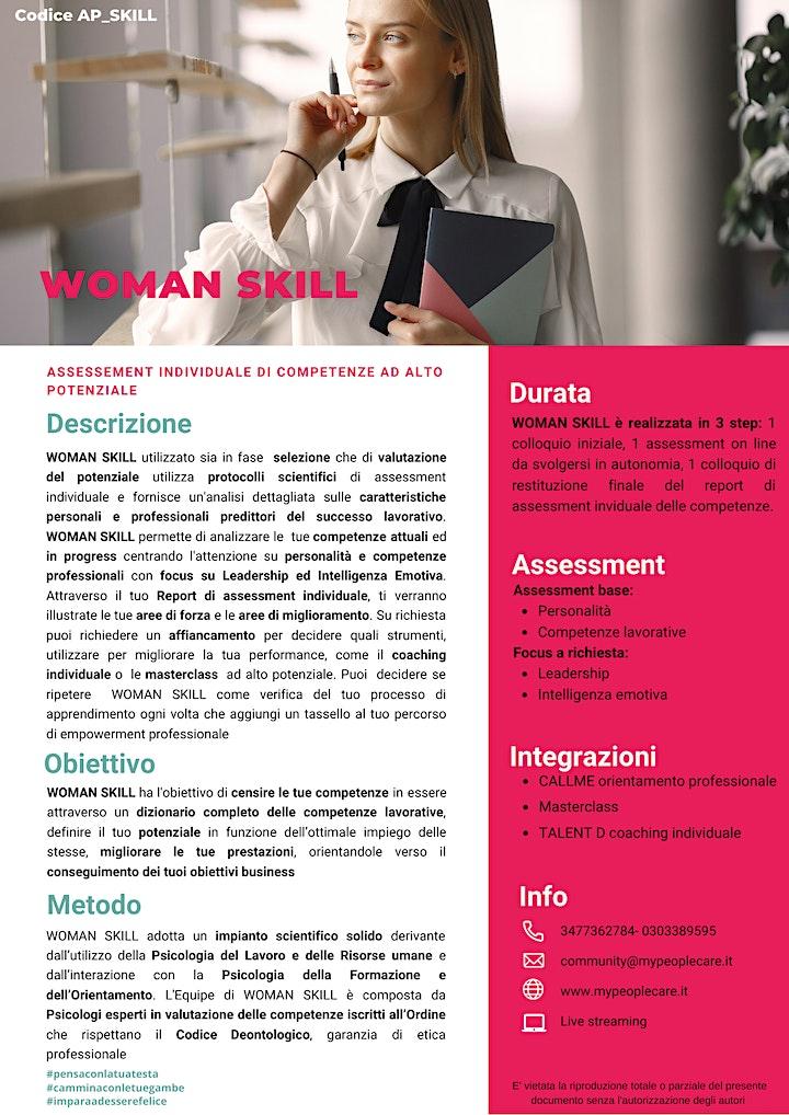 Immagine WOMAN SKILL  assessment individuale di competenze ad alto potenziale