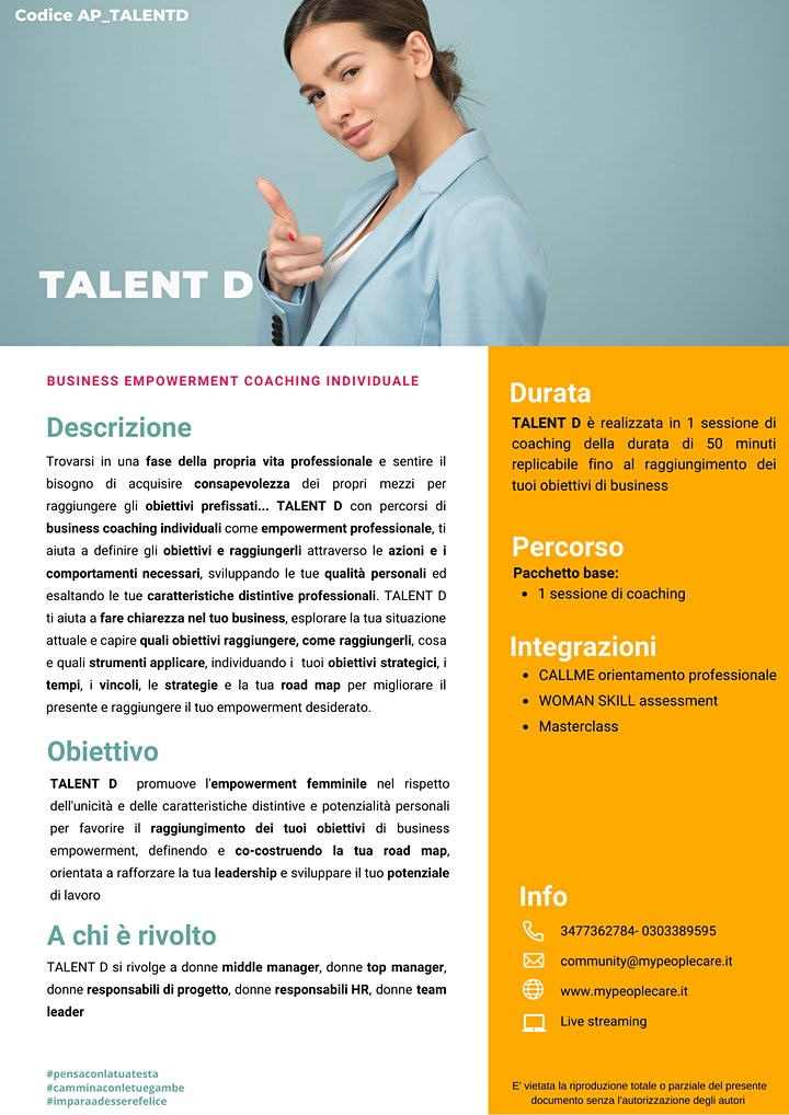 Immagine TALENT D business empowerment  coaching individuale