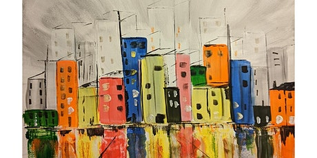 Fun Painting with Acrylics ONLINE, live and friendly - Abstract Buildings tickets