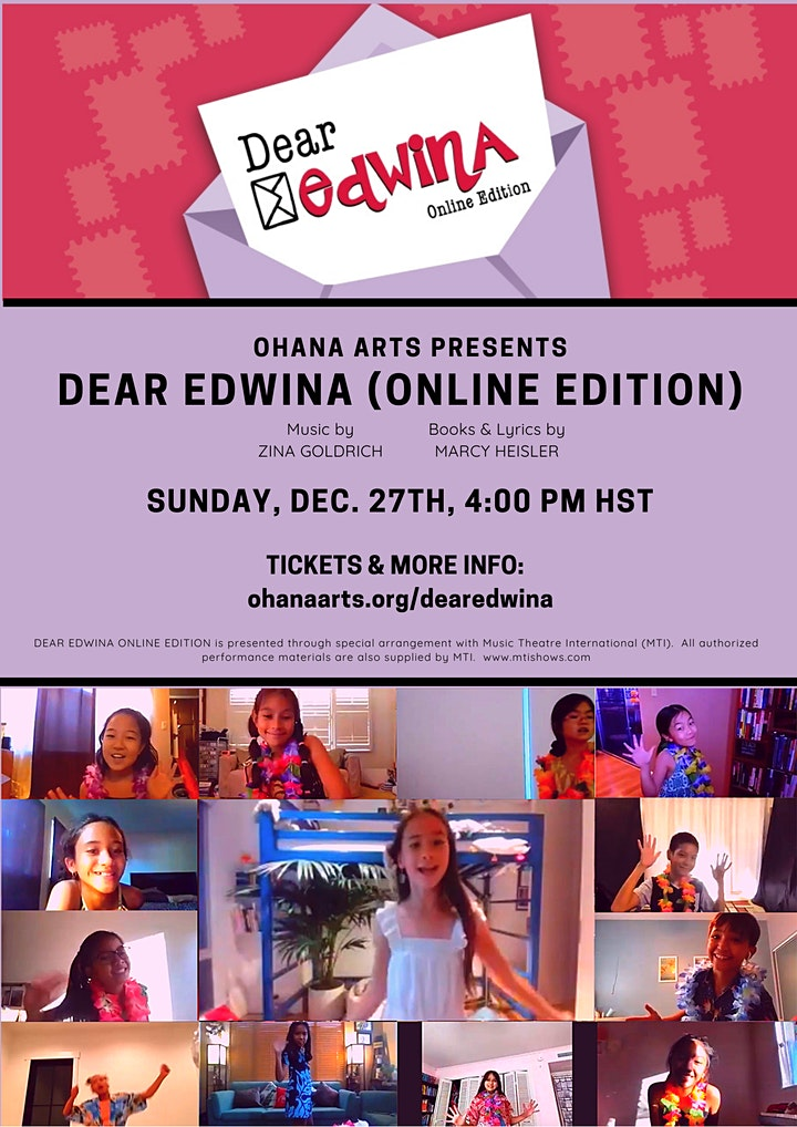"Ohana Arts presents ""Dear Edwina (Online Edition)"" image"
