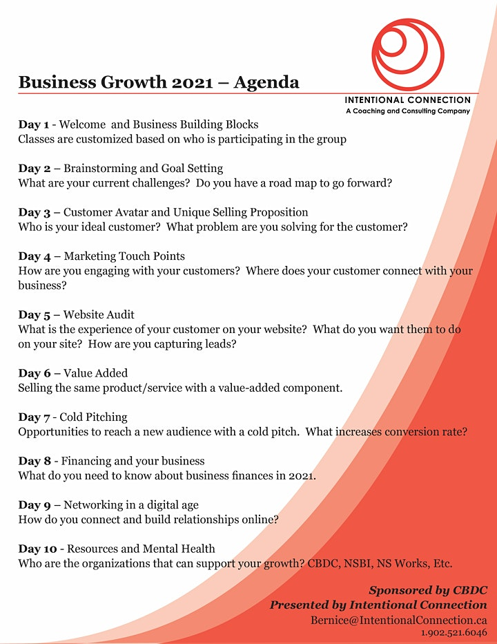 Business Growth 2021  - Tuesday 12 - 2pm *10 classes/20 hours image