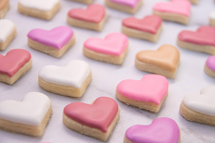 Feb 14 - Will U B My Virtual Valentines Online Cookie Decorating Class image