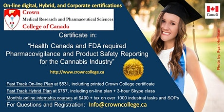 Online Certificate in Pharmacovigilance and Product Safety for Cannabis tickets