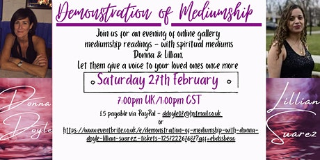 Demonstration of Mediumship with Donna Doyle & Lillian Suarez tickets