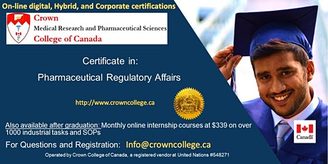 Pharmaceutical Regulatory Affairs Online Certification tickets