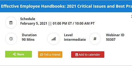 Developing Effective Employee Handbooks: 2021 Critical Issues Best Practice tickets